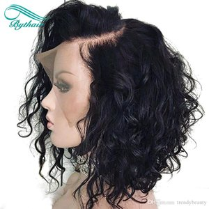 Bythair frente del cordón ondulado corto Bob peluca de cabello humano pelucas nudos blanqueados brasileño de la Virgen del cordón lleno peluca Pre desplumados rayita natural