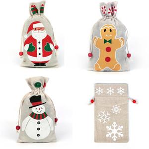 Regalos de Navidad de lino con asas de Santa Claus de Navidad del copo de nieve cumpleaños muñeco de nieve de Navidad arpillera bolsa de almacenamiento del partido del bolso caramelo