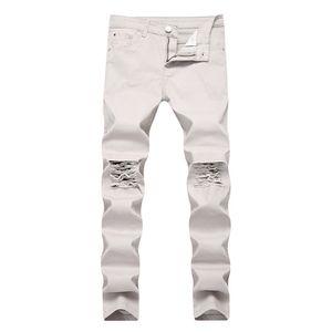 10 couleurs Pantalons Jeans Hommes Mode Slim Jeans Destroyed Trou Jeans Denim Moto Washed Ripped Pantalons Pantalons longs Crayon