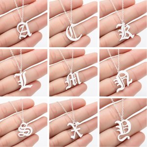 Letter Necklaces for Women Necklace Goth Jewelry Stainless Steel Birthday Jewelry Ancient Old English Alphabet Personalized