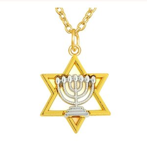 DN014 Gold Color Metal Link Chain Stars Pendant Necklace Jewelry Two Tones Rhodium Religious Charm Necklaces for woman and men