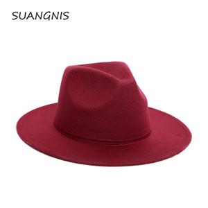 2019 Fedora Hat Hommes Femmes Imitation Woollen Hiver Femmes Chapeaux en feutre Hommes Mode Noir Top Hat Jazz Fedoras Chapeau