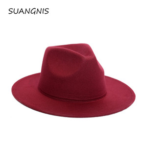2019 Fedora Hat Men Women Imitation Woolen Winter Women Felt Hats Men Fashion Black Top Jazz Hat Fedoras Chapeau