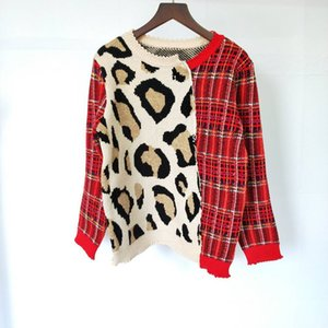 2019 New Autumn Stitching Leopard Long Sleeve Leopard Wool Blended Knit Shirt Luxury Sweater Women Designer Sweaters Pullover Size S-L