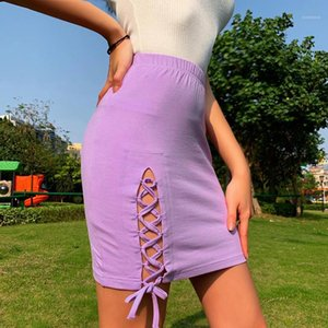 Dresses Hollow Out Bow Skinny Sexy Ladies Skirts Casual Solid Color Female Dresses Purple Summer Womens Mini