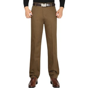Men High Waist Loose Pants Cotton Business Casual Stretch Male Trousers Man Long Straight High Quality Plus Size 40 42 Pant Suit