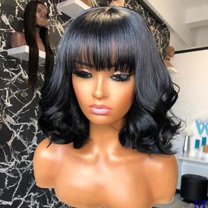 Bangs 180Density ağartılmış Knots Siyah Kadınlar için 13x6 Dantel Açık Remy İnsan Saç Peruk ile Vücut Dalga Doğal Renk Tam Dantel Peruk