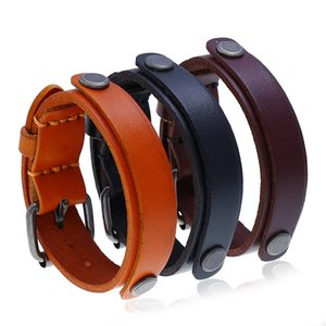 punk adjustable brown leather bracelet men 2020 charms retro Wristband jewelry bicycle accessories gifts best friend bracelet
