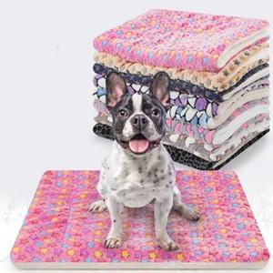 Flanel Battaniye Hayvan 3D Yıldız Ayak izleri Mermer Baskılı Köpek Kedi Kış Sıcak Kalınlaşmış Yatak Evcil Mat WY261Q Sleeping
