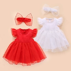 summer newborn princess style red white cotton lace dress wedding baptism clothes for baby birthday party T200706