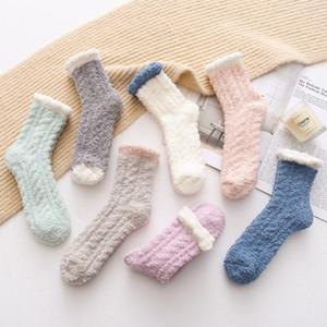 Coral Velvet calcetines del color del caramelo de dormir Calcetines invierno sólido toalla calcetines de la señora gruesa Tobillera Warm mullidas Medias Medias de chicas