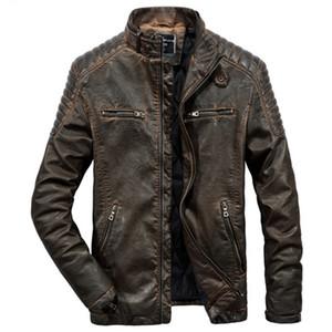 Giacca da uomo in pelle per moto Parka vintage marrone nero Parka Slim maschio invernale caldo casual Moto Biker Jacket Coat
