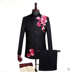 Blazer men Chinese tunic suit set with pants costume homme mariage singer star style dance stage clothing formal dress black