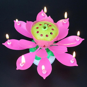 2020 Party Cake Topper Musical Lotus Flower Rotating Happy Birthday Candle beautiful Candles free shipping wholesale