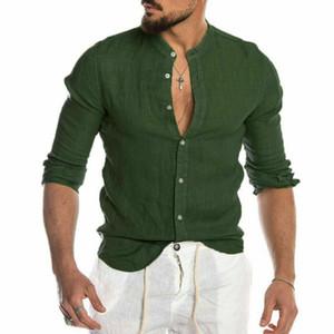 4 Farben-Männer-T-Shirts Art und Weise beiläufige stilvolle dünne Fit Langarm-legere Kleidung Knopf