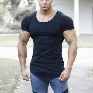 Бренд сплошной одежда тренажерные залы футболки мужские фитнес плотно футболки хлопок Slim-подходят футболка мужчины Бодибилдинг Летний топ пустой футболка