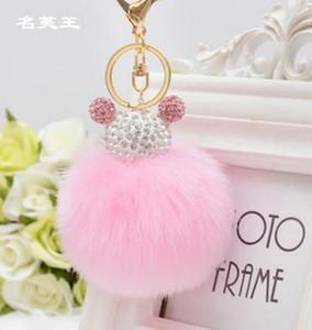 New cristal mouse vison do falso pele falsa Pompom pom pom bola KeyChain Key anel cadeia de jóias Bag Mulher Pendant