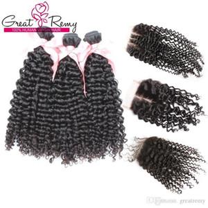 Virgem Cabelo brasileiro Weave Comprar 3Bundles Curly Obter 1pc Top Encerramento (4 * 4) grátis Oriente 3 Parte Curly extensões do cabelo Grande Remy Factory Outlet