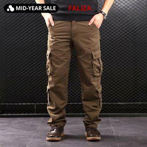 Cargo Pants FALIZA uomini di multi tasche stile militare tattici pantaloni Outwear del cotone degli uomini di pantaloni diritti casual per uomo CK102 CX200615
