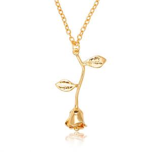 Bijoux fantaisie Collier Bague en or rose avec déclaration Rose Pendentif pour femme