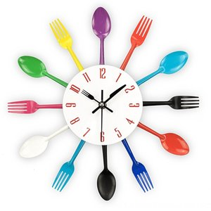 Kitchen, 3D Removable Modern Creative Cutlery Kitchen Spoon Fork Clock Mirror Wall Decal Wall Sticker Room Clocks Home Dcor Home