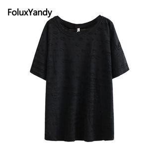 Hole Tops Women Plus Size Summer Tops O-neck Short Sleeve Casual T-shirts Black White KKFY4649