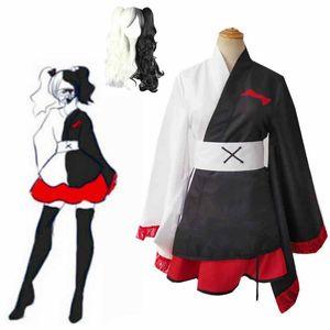 Anime Danganronpa Monokuma Cosplay Pinafore Japanese Kimono Women Female Dresses Halloween Cosplay Costume