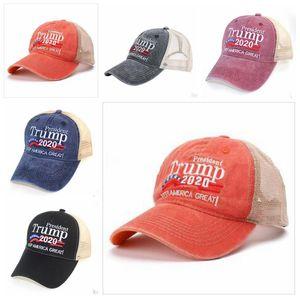 Trump 2020 Beyzbol Caps Tasarımcı Keep Amerika Büyük Harf Şapka İşlemeli Kumaş Topu Cap Açık Plaj Şapka Güneşlik DZYQ7283 Yıkanmış