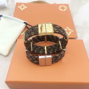 Moda marca chamada Lady Mulheres Round Five plataforma magnética Fechos de couro pulseiras com 18k ouro gravado Quatro Acessórios Flor Folha