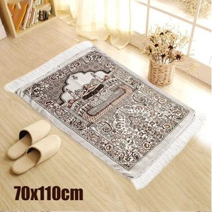 Bohemian Islamic Muslim Prayer Rug Carpet Mat Polyester Namaz Salat Tassel Tablecloth Cover Yoga Mat Blanket Decoration 70x110cm Y200527