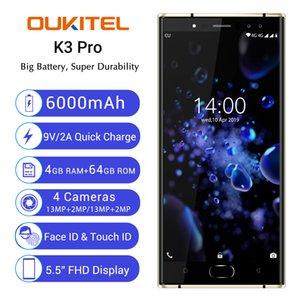Octa de base MTK6763 4 Go 64 Go OUKITEL K3 Pro 4G LTE d'empreintes digitales Face ID Android 5.5 pouces FHD 6000mAh Battery Charge rapide 13MP Smartphone caméra