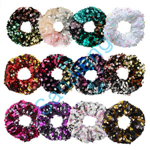 Women Reversible Hair Rope Shiny Sequins Scrunchies Glitter Hair Ties Ponytail Holders Baby Girls Dance Elastic Hairbands Applique FASTD3905