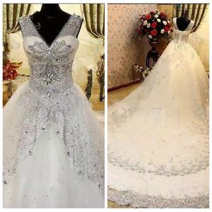 2019 Sheer V-образным вырезом Bling Bling Свадебные платья из хрустальных бусин Роскошные блестки на шнуровке Назад Свадебные платья Выполненные на заказ модные свадебные платья