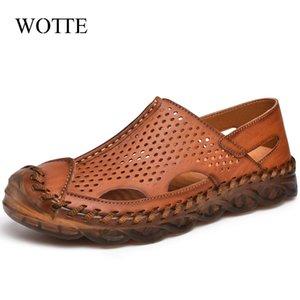 Scarpe Wotte Uomo sandali di cuoio Estate uomini scarpe casual da uomo traspirante Beach Outdoor sandali romani per l'uomo Dimensione 46 Piso