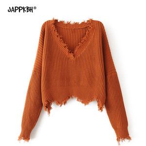 가을 겨울 스웨터 여성 2019 브이 넥 따뜻한 큼직한 긴팔 술의 스웨터 캐주얼 솔리드 루스 풀오버 니트 스웨터
