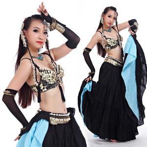 4 ADET SET / Seksi Tribal Bra Kemer Etek Belly Dance Kostüm Suit Kadın Bellydance Giyim Aksesuarları Tribal Bellydance Giyim