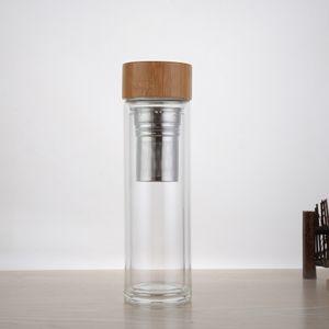 50pcs Commercio all'ingrosso libero di trasporto Coperchio di bambù 400ml Coperchio di vetro di vetro a doppia parete Include il filtro e il canestro dell'infusore lin4580