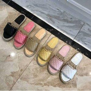 2018 Marca Princetown Mujeres Zapatillas de Piel Diseñador de Moda de Lujo Mocasines de Cuero Genuino Zapatos Cadena de Metal Señoras Ocasionales Mulas Pisos Nuevo