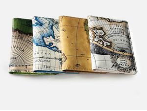 DHL 50шта Кореи Стиль Карта мира Печать путешествия владелец паспорта Обложка удостоверение Сумка Passport Защитные рукава Женской сумка для хранения