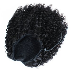 Afro Puff хвостик кудрявый кулиской Ponytails Наращивание волос для афро-американских 3C 4C человеческого волоса пони хвост завитые Hairpieces Топ Закрытие