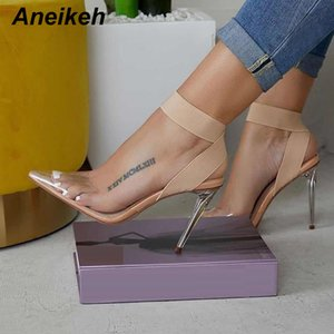 Aneikeh 2019 Concise PVC Women Sandals Transparent Clear Glass Thin High Heels Pointed Toe Slip-On Dress Lady Shoes Apricot 4-11 CX200620