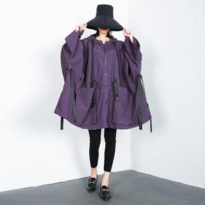 Women Autumn Oversized Bat Sleeve Big Pocket Hooded Trench Coat Female Streetwear Hip Hop Big Size Windbreaker Outerwear Cloak