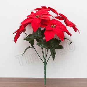 neue künstliche Blumen Simulation Silk Poinsettia rote Seide Weihnachten Dekorative Weihnachten Flowers Home Weihnachten Partyware T2I5551