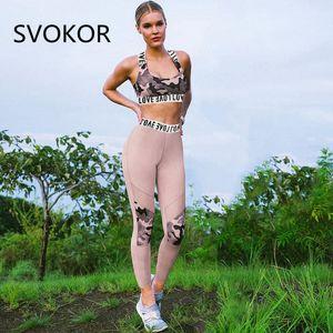 Kadınlar Seti Pembe Yaz Moda Pamuk Saf Seksi Nefes Yüksek Bel Pantolon Sportwear Seti Bayan baskı SVOKOR Kamuflaj Yaprak