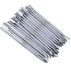 2 en 1 decoración de uñas Herramientas cutícula del acero inoxidable de 2 maneras esencial empujador de la cuchara de la manicura empujadores de cutícula 500pcs RRA1687