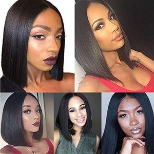 8-10inch 150% плотность человеческих волос Парики Virgin перуанского волос Yaki Kinky прямая фронта шнурок для черных женщин волос младенца вокруг