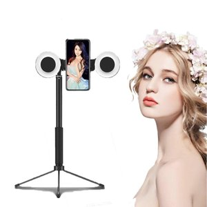 Photographic Lighting 4 in 1 Phone Mount Selfie Light 1.7m Extendable Live Tripod Selfie Stick Support LED Ring Light Stand for Android