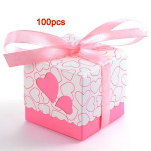 HOT-100x Dragée Mariage De Mariage Mariage Coeur Table De Décoration De Baptême + Ruban Rose