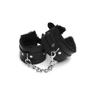 DHL 100pcs Sexy Adjustable PU Leather Plush Handcuffs Ankle Cuff Bondage Sex Toy Restraints Bondage