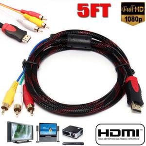 1.5M HDMI maschio a maschio cavo di estensione 3RCA 5Ft HDMI Per 3RCA AV convertitore dell'adattatore del cavo Component Video Audio cavo HDTV 20A08